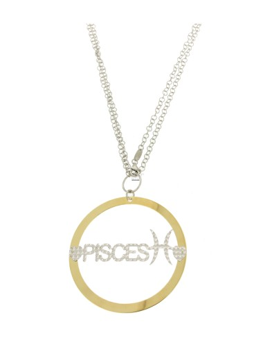 ROLO CHAIN &39CM 85 PENDANT 56 MM ROUND PISCES IN SILVER AND GOLD PLATED RHODIUM TIT 925 ‰
