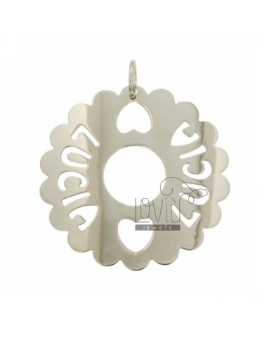CHARM ROUND 50 MM SCALLOPED LUCIA SILVER RHODIUM TIT 925