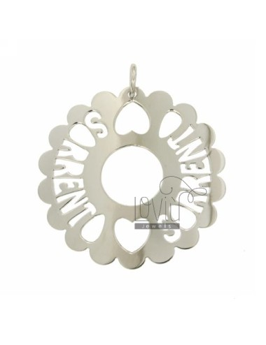 CHARM ROUND SCALLOPED MM 50 SORRENTO SILVER RHODIUM TIT 925