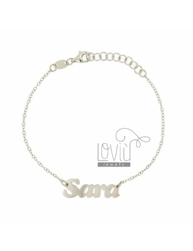 ROLO BRACELET &39CM 18 WITH NAME SARA SILVER RHODIUM TIT 925 ‰
