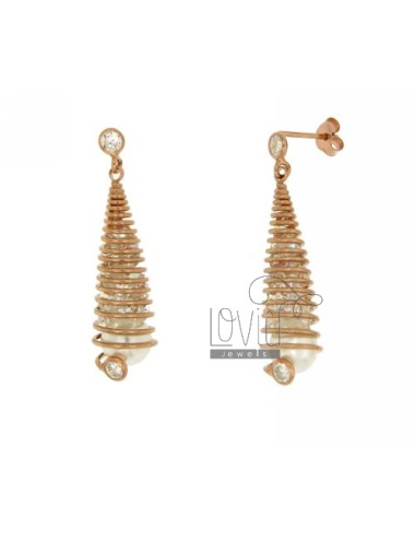 EARRINGS DROP SPIRAL PEARL...