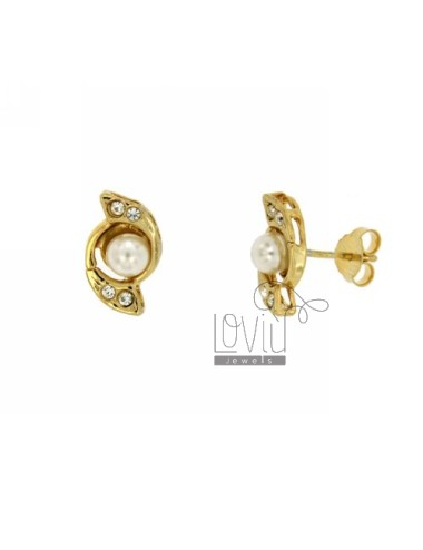 EARRINGS LOBO PEARL AND CRYSTAL IN GOLD PLATED TIT 925