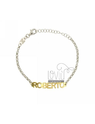 ROLO BRACELET &39BABY NAME PRINT MARK IN SILVER AND GOLD PLATED RHODIUM TIT 925%