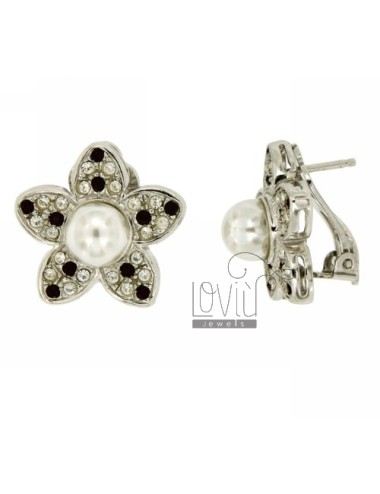 EARRINGS FLOWER WITH CLIPS PEARL AND CRYSTAL SILVER TIT 925