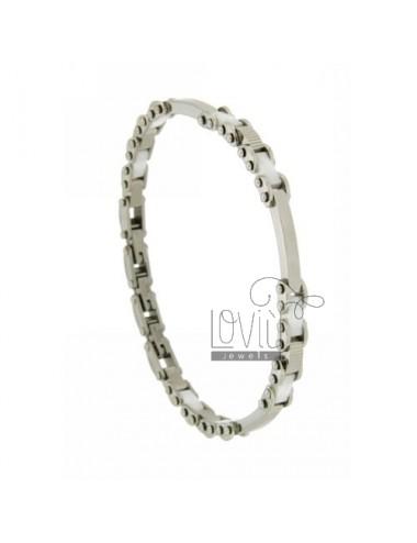 Bracelet in steel and ceramic