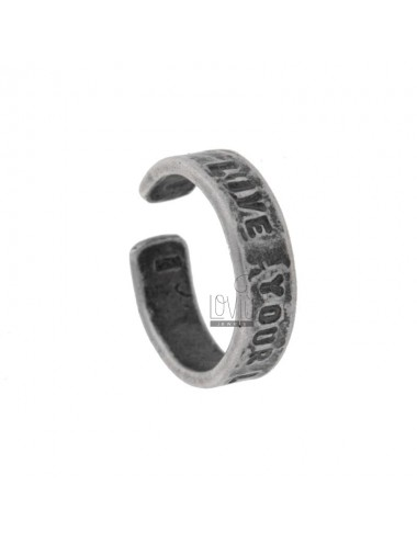 RING &quotLIVE YOUR LIFE&quot SILVER BRUNITO TIT 925 ‰ SIZE ADJUSTABLE