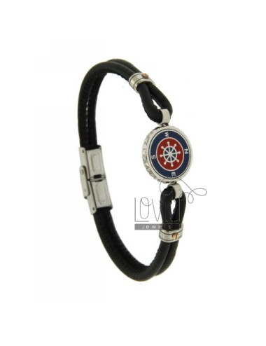 Armband aus schwarzem Leder...