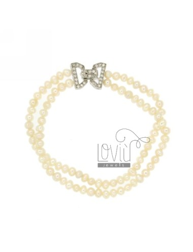NECKLACE AND BRACELET DOUBLE WIRE PEARL RIVER 4 MM WITH CLOSURE IN SILVER TIT 925 ‰ AND ZIRCONIA