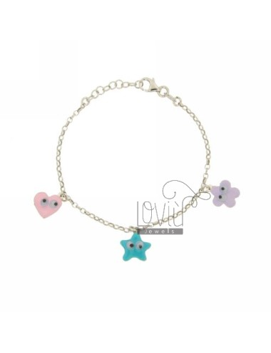 CABLE BRACELET WITH HEART, STAR AND FLOWER PENDANT WITH eyes SILVER RHODIUM AND GLAZED TIT 925 ‰ CM 18