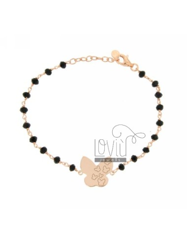 BRACELET faceted CRYSTAL BALLS WITH BLACK BUTTERFLY CENTRAL SILVER ROSE GOLD PLATED TIT 925 ‰ CM 18