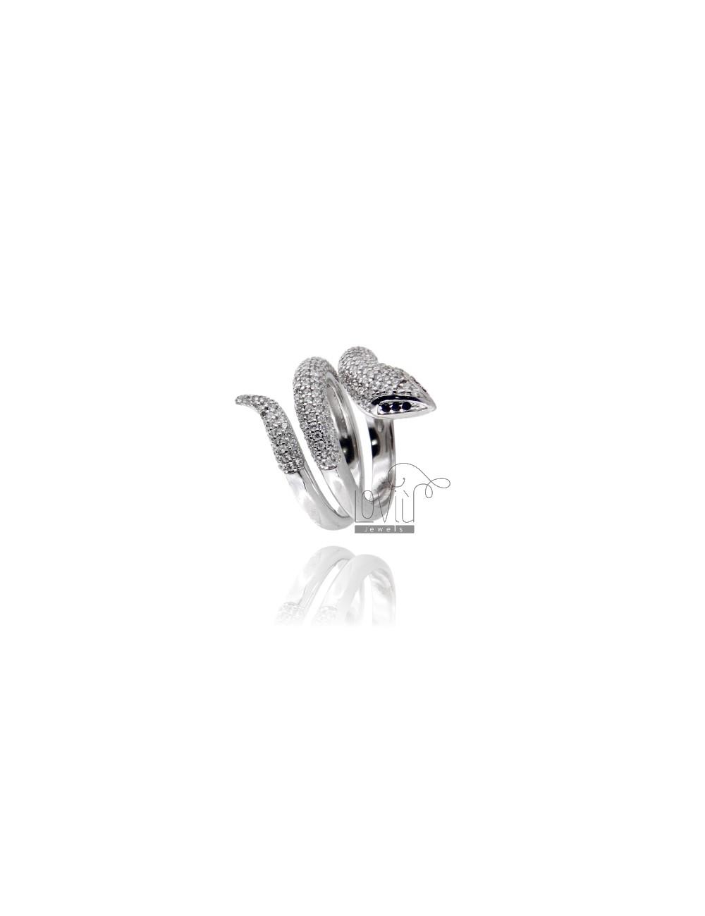 Anello serpente pavè in argento 925/%