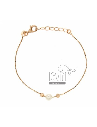VENETIAN BRACELET SILVER ROSE GOLD PLATED TIT 925 ‰ AND PEARL MM 6 TIT 925 ‰ CM 18