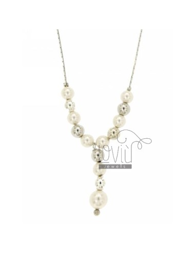 COBRA TIE SILVER NECKLACE RHODIUM TIT 925 ‰ AND PEARLS 42 CM
