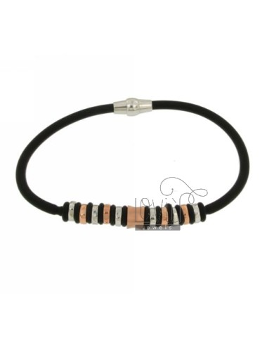 BRACELET RUBBER &39CM 19 IN AG PARTITIONS WITH RHODIUM AND GOLD PLATED TIT 925 ‰