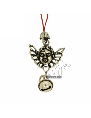 CHARMS FOR CELL FACE WITH ANGEL WINGS AND Rattle IN AG TIT 800 ‰