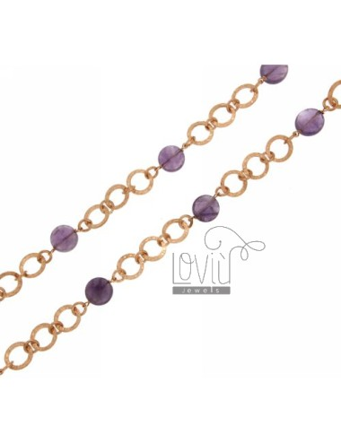 LACE MESH GIOTTO WITH STONES AMETHYST SILVER ROSE GOLD PLATED TIT 925 ‰ CM 80