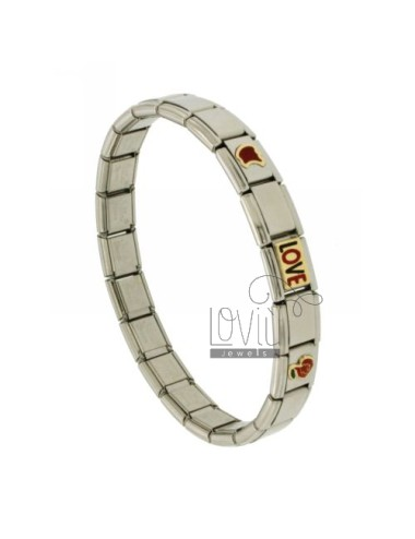BRACELET STEEL BAND WITH 9 MM 3 APPLICATIONS LOVE GOLD 750 ‰