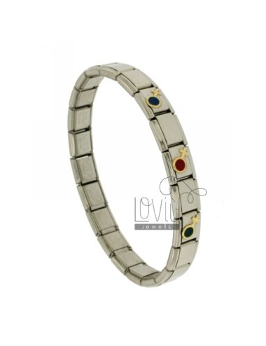 BRACELET STEEL BAND WITH 9 MM 3 APPLICATIONS SYMBOL WOMAN IN GOLD 750 ‰