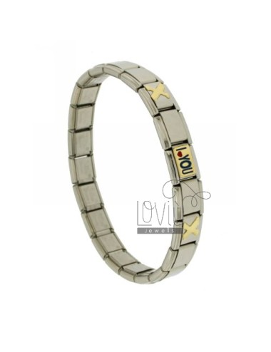BRACELET STEEL BAND WITH 9 MM 3 APPLICATIONS I LOVE YOU GLAZED GOLD 750 ‰