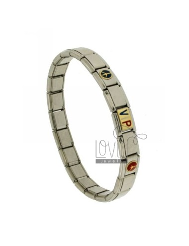 BRACELET STEEL BAND WITH 9 MM 3 APPLICATIONS VIP GLAZED GOLD 750 ‰
