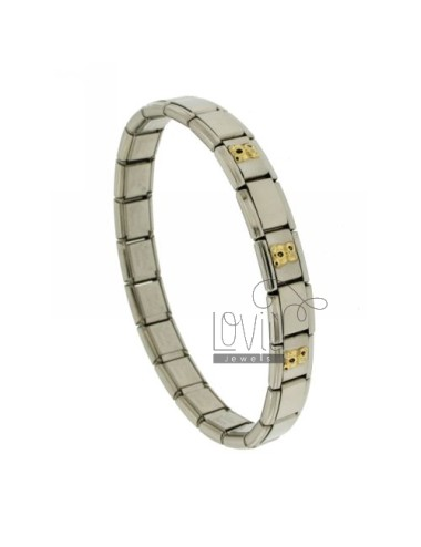 BRACELET STEEL BAND WITH 9 MM 3 APPLICATIONS ORSETTI ENAMELLED GOLD 750 ‰