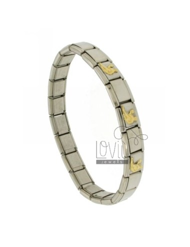 BRACELET STEEL BAND WITH 9 MM 3 APPLICATIONS VIRGIN GOLD 750 ‰
