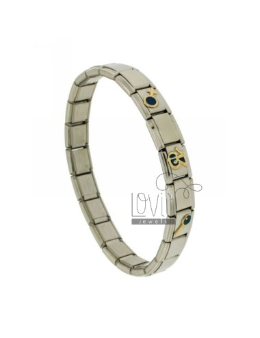 BRACELET STEEL BAND WITH 9 MM 3 APPLICATIONS THIRTEEN GLAZED GOLD 750 ‰