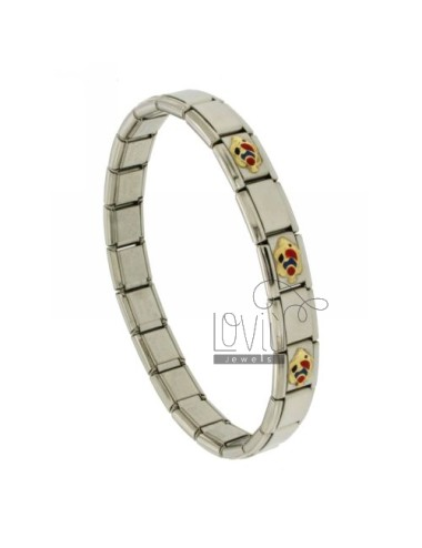 BRACELET STEEL BAND WITH 9 MM 3 APPLICATIONS PESCIOLINI ENAMELLED GOLD 750 ‰
