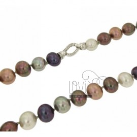 PEARLS NECKLACE OVAL MM 15x13 MULTICOLOURED CM 45 WITH CLOSURE IN SILVER TIT 925 ‰ AND ZIRCONIA