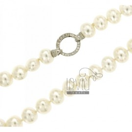 PEARLS NECKLACE OVAL 15x13 MM 45 CM WITH CLOSURE IN SILVER ROUND TIT 925 ‰ AND ZIRCONIA