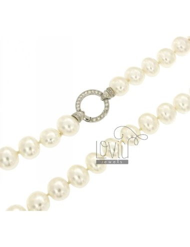 PEARLS NECKLACE OVAL 15x13 MM 90 CM WITH CLOSURE IN SILVER ROUND TIT 925 ‰ AND ZIRCONIA