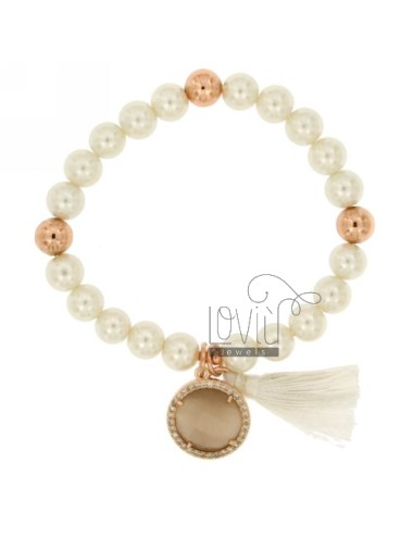 Bangle Bracelet PEARL 8 MM WITH STONE FUME &39And ZIRCONS METAL PLATED ROSE GOLD