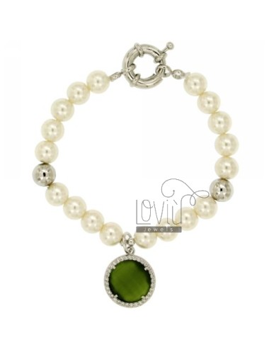 BRACELET PEARL 8 MM WITH STONE AND ZIRCONIA GREEN METAL RHODIUM CM 19