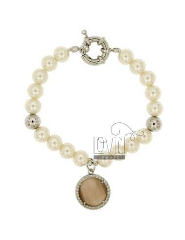 BRACELET PEARL 8 MM WITH STONE FUME &39And ZIRCONS METAL RHODIUM CM 19