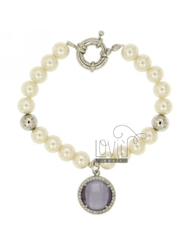 BRACELET PEARL 8 MM WITH STONE AND ZIRCONIA PURPLE METAL RHODIUM CM 19
