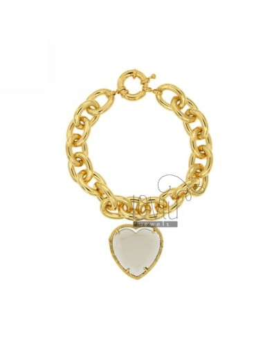 BRACELET GOLDEN METAL HEART WITH GREY