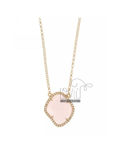 ROLO NECKLACE &39STONE HYDROTHERMAL ROSE SHAPED SHAPED ROMBO EDGED OF ZIRCONIA SILVER ROSE GOLD PLATED TIT 925 ‰ CM 45