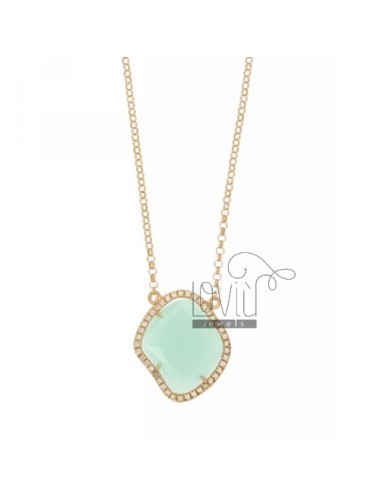 ROLO NECKLACE &39STONE HYDROTHERMAL TIFFANY GREEN SHAPED SHAPED ROMBO EDGED OF ZIRCONIA SILVER ROSE GOLD PLATED TIT 925 ‰ CM 4