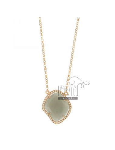 ROLO NECKLACE &39STONE GRAY HYDROTHERMAL SHAPED SHAPED ROMBO EDGED OF ZIRCONIA SILVER ROSE GOLD PLATED TIT 925 ‰ CM 45
