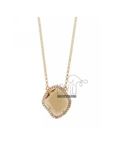 ROLO NECKLACE &39STONE HYDROTHERMAL FUME&39 SHAPED SHAPED ROMBO EDGED OF ZIRCONIA SILVER ROSE GOLD PLATED TIT 925 ‰ CM 45