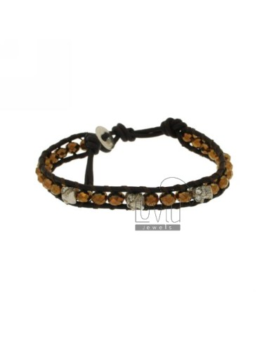 Tessito BRACELET WITH CRYSTALS AND WITH skulls ZIRCONS EDGED IN LEATHER AND CLOSING BUTTON SILVER TIT 925