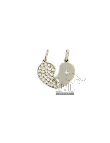 SILVER CHARM HEART DIVIDED TIT 925 ‰ AND ZIRCONIA