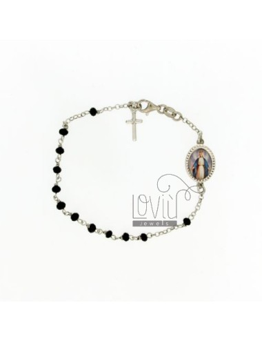 ROSARY BRACELET WITH BLACK STONES faceted MM 3.5 X 2.8 CM 20 MIRACULOUS MADONNA WITH SILVER RHODIUM 925 ‰