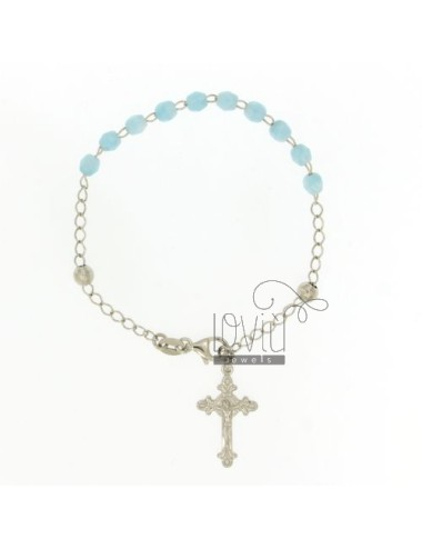 ROSARY BRACELET WITH STONES CELESTIAL faceted MM 4.5 X 4.5 CM 54 SILVER RHODIUM 925 ‰ CM 20