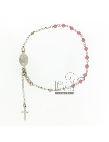 BRACELET ROSARY WITH BALL MM 3 GLAZED ROSE SILVER RHODIUM TIT 925 ‰ CM 19