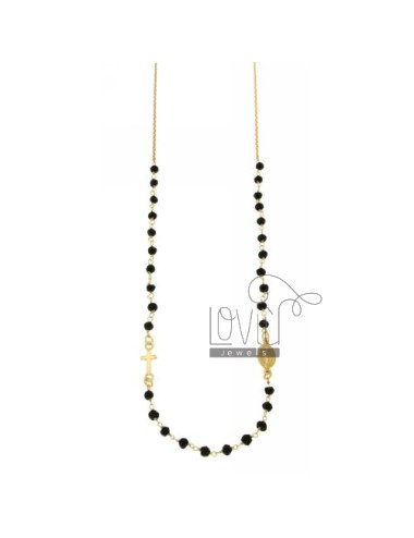 ROSARY NECKLACE 45 CM A TOUR WITH BALLS BLACK STONE faceted 4 MM IN SILVER TIT 925