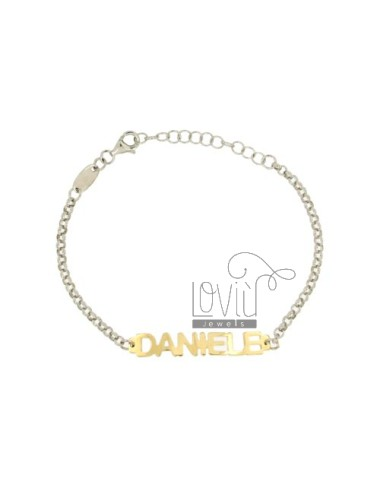 ROLO BRACELET &39PRINT NAME BABY DANIEL SILVER PLATED RHODIUM AND GOLD TIT 925%