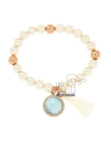 Bangle Bracelet PEARL 8 MM WITH STONE AND BLUE ZIRCONIA METAL PLATED ROSE GOLD