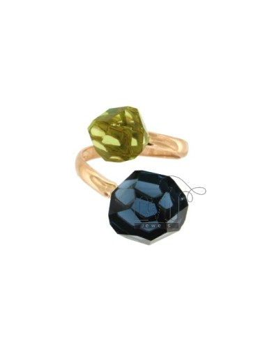 CONTRARY RING WITH STONES ROUND faceted 11 MM BLUE AND GREEN SILVER COPPER TIT 925 ‰ SIZE ADJUSTABLE
