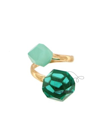 CONTRARY RING WITH STONES ROUND faceted 11 MM GREEN AND GREEN TIFFANY SILVER COPPER TIT 925 ‰ SIZE ADJUSTABLE